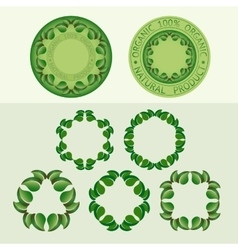 Set frames of leaves and badge templates vector image vector image