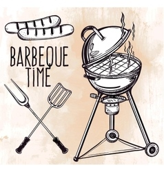Set of barbecue line art icons vector image vector image