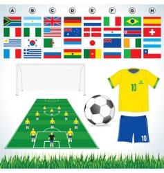 soccer set vector image vector image