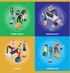 sport people in gym poster card set isometric view vector image vector image