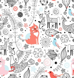 texture of funny cats and fabulous animals vector image