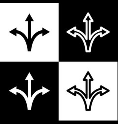 Three-way direction arrow sign black and vector