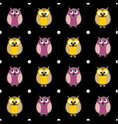 Tile pattern with owls and dots on black vector