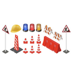 under construction sign set vector image vector image