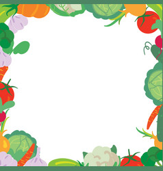 vegetables frame on a white background vector image vector image