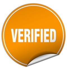 Verified round orange sticker isolated on white vector