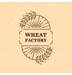 Wheat factory field logo line art icon vector image