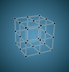 Wireframe mesh polygonal element cube with vector