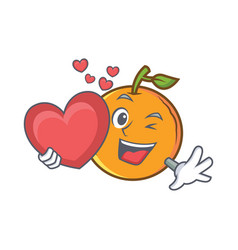 With heart orange fruit cartoon character vector