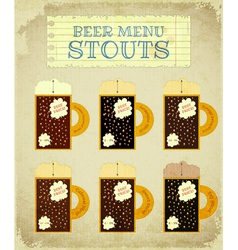 Vintage beer card stouts vector