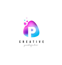 p letter dots logo design with oval shape vector image