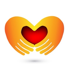 Hands and heart logo vector