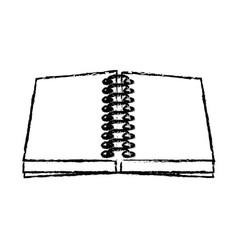 Open notebook spiral paper blank utensil vector