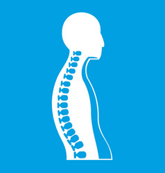 Human spine icon white vector