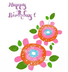 Happy birthday with flower vector