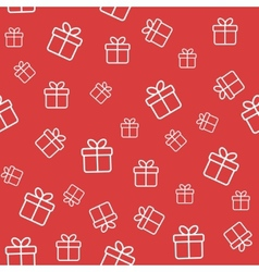 Red seamless pattern with gift boxes vector