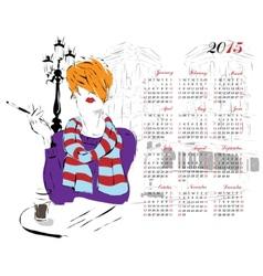 Calendar with fashion girl vector image
