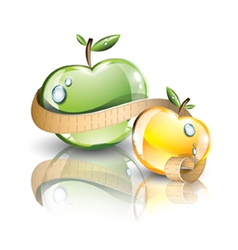 Glossy fresh apples vector