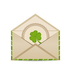 Open vintage envelope with clover isolated on vector