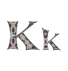 Low poly letter k in brown mosaic polygon vector