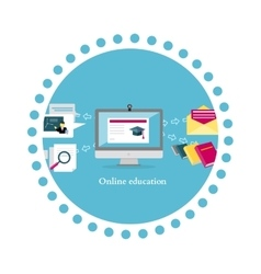 Online education icon flat design vector