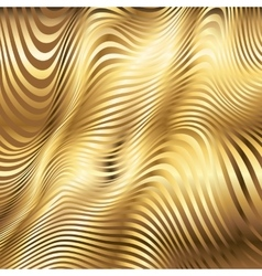 Golden striped waves abstract background vector