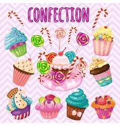 Sweet blast set candy cakes lollipops vector