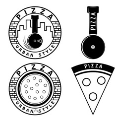 Urban style pizza labels and elements set vector