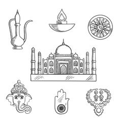 Indian religion and culture symbols vector