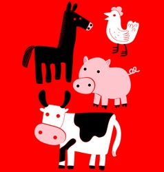 Animal farm set vector