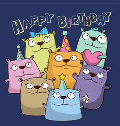 Birthday card with funny cartoon bears vector