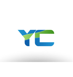 Blue green yc y c alphabet letter logo vector