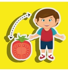 Boy cartoon tomato vegetable health vector