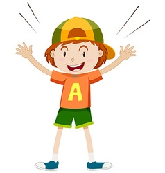 Boy in orange shirt wearing cap vector