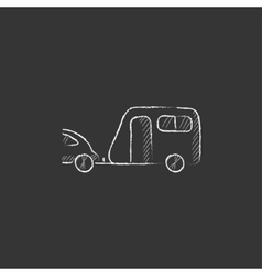 Car with caravan drawn in chalk icon vector