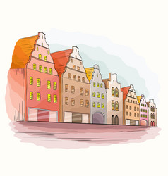 city background with houses vector image vector image