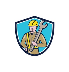 Construction worker spanner shield cartoon vector