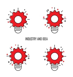 Creative Light Bulb and Gear Icon concept backgrou vector image