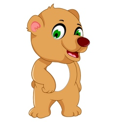 Cute bear cartoon posing vector
