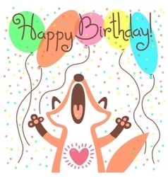 Cute happy birthday card with funny fox vector image vector image