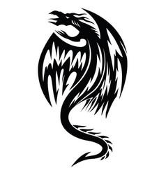 Flying dragon tattoo vintage engraving vector