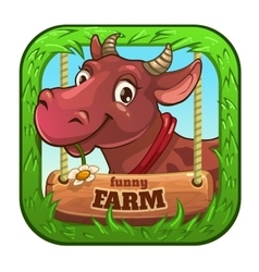 Funny app icon with cute cartoon cow vector image