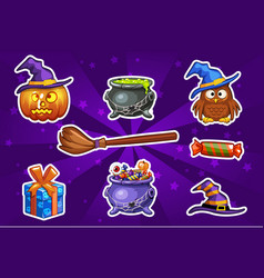 funny cartoon halloween sticker icons vector image vector image