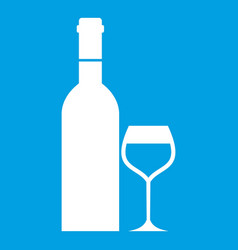 Glass and bottle of wine icon white vector