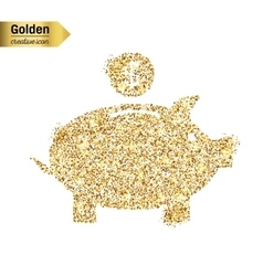 Gold glitter icon of piggy bank isolated on vector image