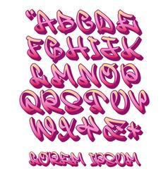 Graffiti alphabet 3d- hand written - font vector