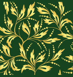 green and golden seamless floral texture vector image