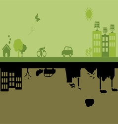 Green versus Industrial city vector image vector image