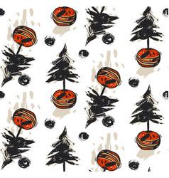 hand drawn abstract christmas trees vector image vector image