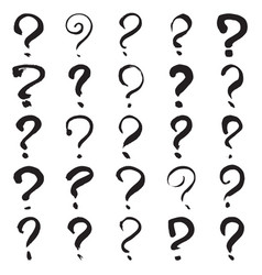 Hand painted question marks vector